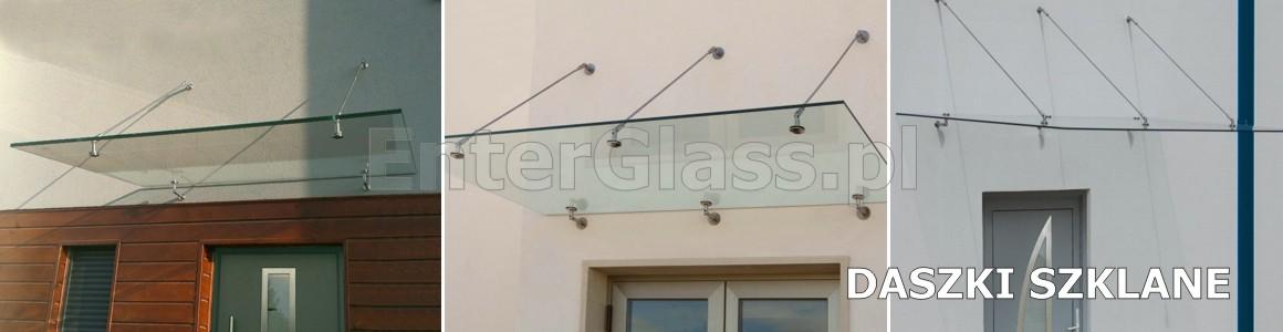 Daszki i zadaszenia szklane ze szkła hartowanego laminowanego.