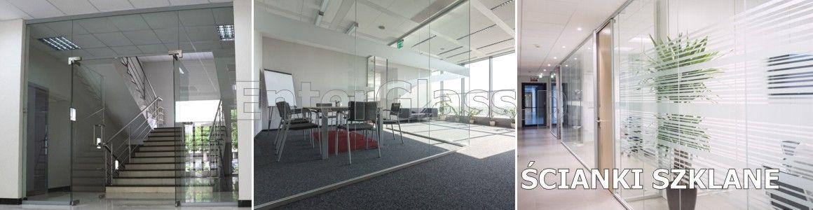 Ścianki szklane, zabudowy szklane, przegrody pomieszczeń biurowych.